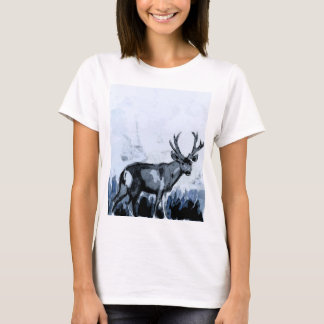 Blaues Rotwild-Aquarell-T-Shirt T-Shirt