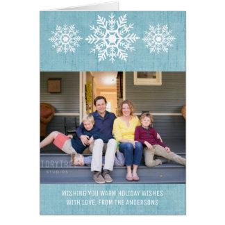 Blaues rustikales Schneeflocke-Feiertags-Foto Grußkarte