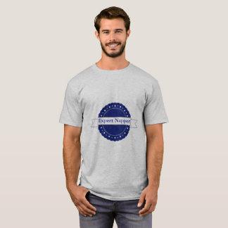 Blaues sachverständiges Napper-Abzeichen T-Shirt