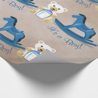 Blaues Schaukelpferd ITIS ein JUNGE! Geschenkpapier