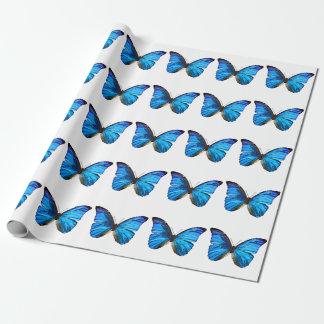 Blaues Schmetterlings-Packpapier Geschenkpapier