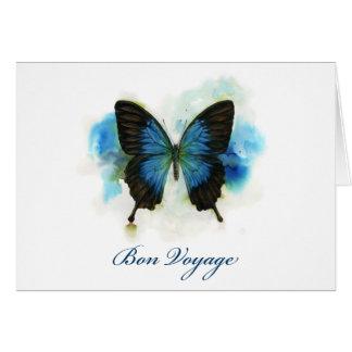 Blaues Schmetterlings-Reise-Briefpapier Grußkarte