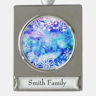 Blaues Schneeflocke-Aquarell Banner-Ornament Silber