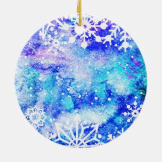 Blaues Schneeflocke-Aquarell Keramik Ornament