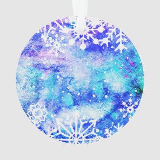 Blaues Schneeflocke-Aquarell Ornament
