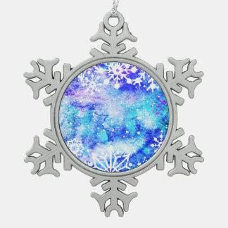 Blaues Schneeflocke-Aquarell Schneeflocken Zinn-Ornament