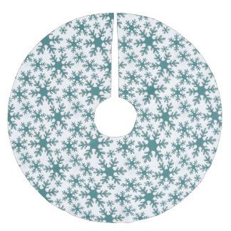 Blaues Schneeflocke-Muster auf einem weißen Polyester Weihnachtsbaumdecke
