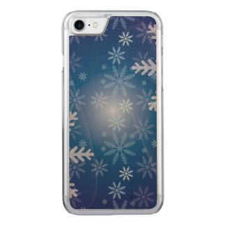 Blaues Schneeflocke-Weihnachtsmuster Carved iPhone 8/7 Hülle
