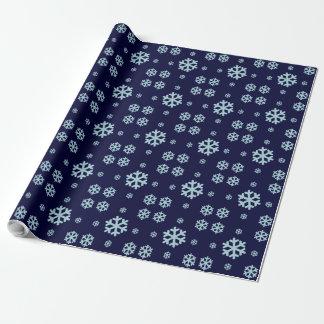 blaues Schneeflocke-Winterurlaub Muster Geschenkpapier