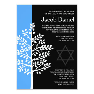 Blaues Schwarz-Baum von Leben-Bar Mitzvah 12,7 X 17,8 Cm Einladungskarte