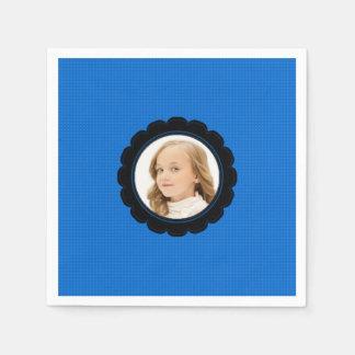 Blaues Schwarz-Blume ersetzen Bild Papierserviette