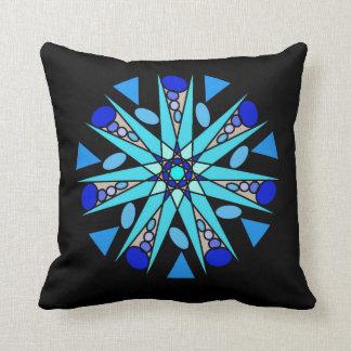 Blaues Schwarz-kosmisches geometrisches Kissen