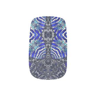 Blaues SchwarzesZebra Bling Minx Nagelkunst