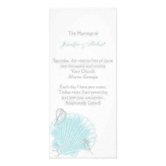 Blaues Seashell-Strand-Hochzeits-Programm Werbekarte