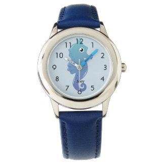 Blaues Seepferd-personalisierten Kindes Uhr