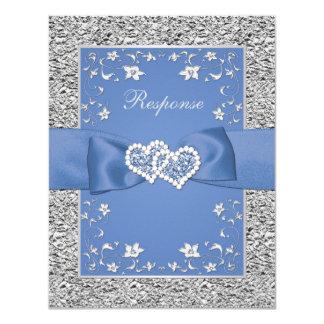 Blaues silbernes Blumenherzen IMITAT Karte
