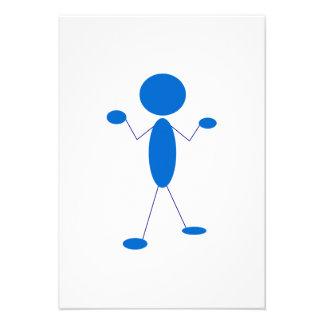 Blaues Strichmännchen, das Schultern zuckt Einladungen