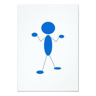 Blaues Strichmännchen, das Schultern zuckt 8,9 X 12,7 Cm Einladungskarte