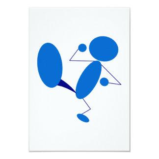 Blaues Strichmännchen-Treten 8,9 X 12,7 Cm Einladungskarte