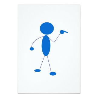 Blaues Strichmännchen-Zeigen 8,9 X 12,7 Cm Einladungskarte