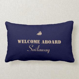 Blaues TAN-Willkommen an Bord des Bootes nautisch Kissen