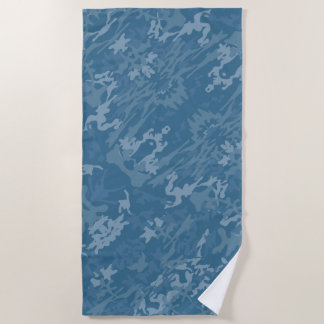 Blaues Tarnungs-Muster Strandtuch