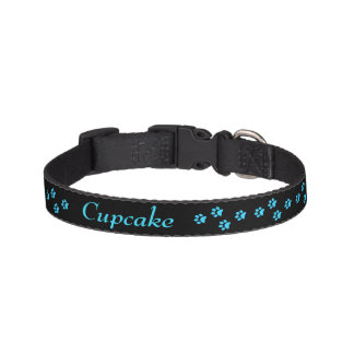 Blaues Tatzen-Druck-Hundehalsband Leine