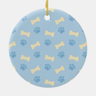 Blaues Tatzen-Druck-Knochen-Muster Rundes Keramik Ornament