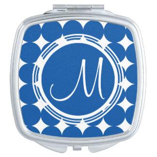 Blaues Tupfen-Monogramm Taschenspiegel