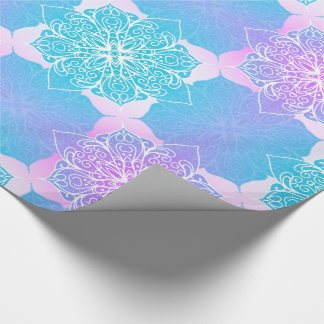 Blaues u. rosa Mandala-Muster Geschenkpapier