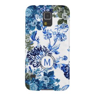 Blaues u. weißes Blumengarten-Monogramm Samsung S5 Cover