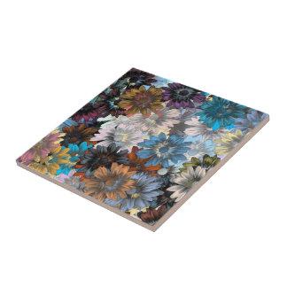 Blaues und braunes Blumen Kleine Quadratische Fliese