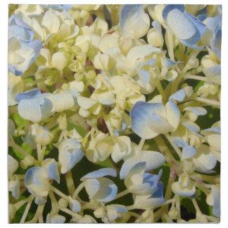 Blaues und cremefarbenes Hydrangea-Blumen-Foto Serviette