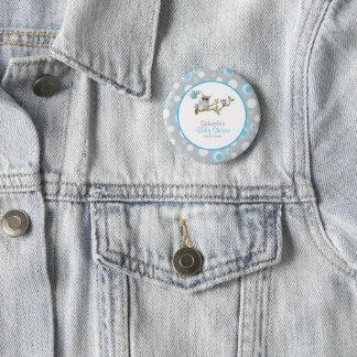 Blaues und graues Baby-Eulen-Babyparty-Thema Runder Button 5,1 Cm