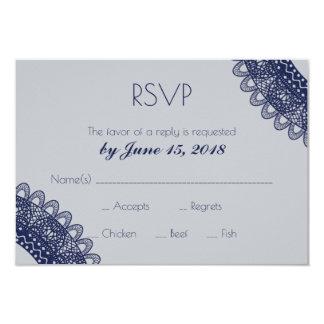 Blaues und graues Spitze-Hochzeit UAWG Karte