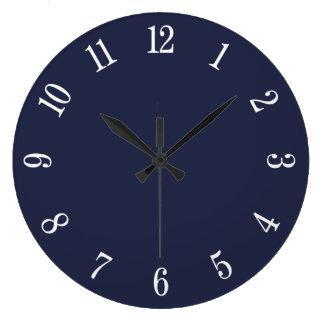 Blaues und großes Mitternachtsweiß nummeriert Große Wanduhr