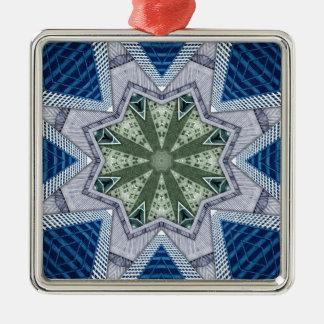 Blaues und grünes abstraktes silbernes ornament