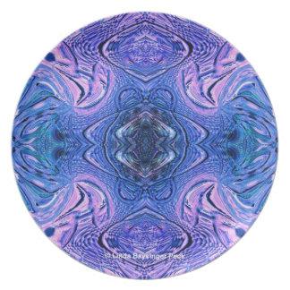 Blaues und lila abstraktes Imitat Glas Melaminteller