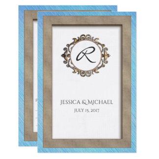 Blaues und mit Monogramm BRONZEUAWG, das Antwort 8,9 X 12,7 Cm Einladungskarte