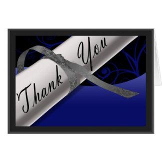 Blaues und silbernes Diplom danken Ihnen Mitteilungskarte