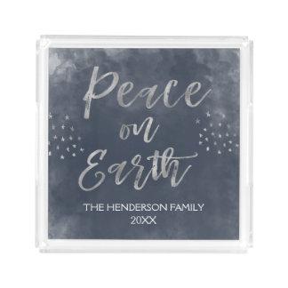 Blaues und silbernes Weltfrieden-Weihnachten Acryl Tablett