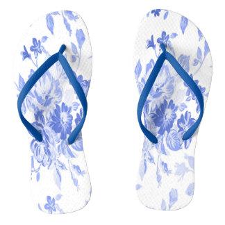 Blaues und weißes Blumen-Muster Flip Flops