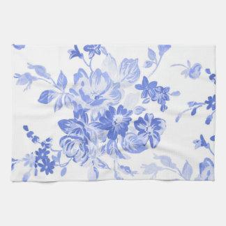 Blaues und weißes Blumen-Muster Handtuch