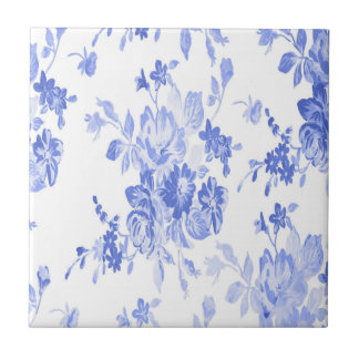 Blaues und weißes Blumen-Muster Kleine Quadratische Fliese
