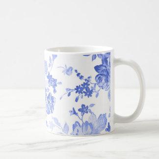 Blaues und weißes Blumen-Muster Tasse