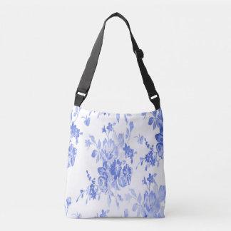 Blaues und weißes Blumen-Muster Tragetaschen Mit Langen Trägern