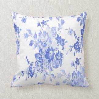 Blaues und weißes Blumen-Muster Zierkissen
