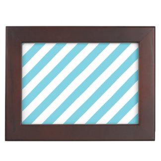 Blaues und weißes diagonales Streifen-Muster Erinnerungsdose