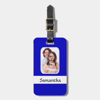 Blaues und weißes kundenspezifisches Foto Kofferanhänger