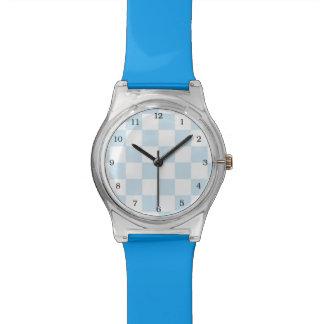 Blaues und weißes Pastellschachbrett Armbanduhr
